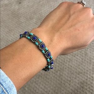 Forever 21 Turquoise and Metal Bead Bracelet